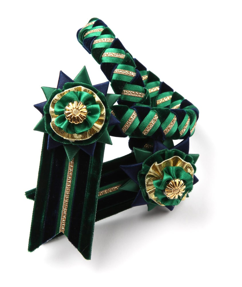 Classic Browband. Green/Navy/Gold