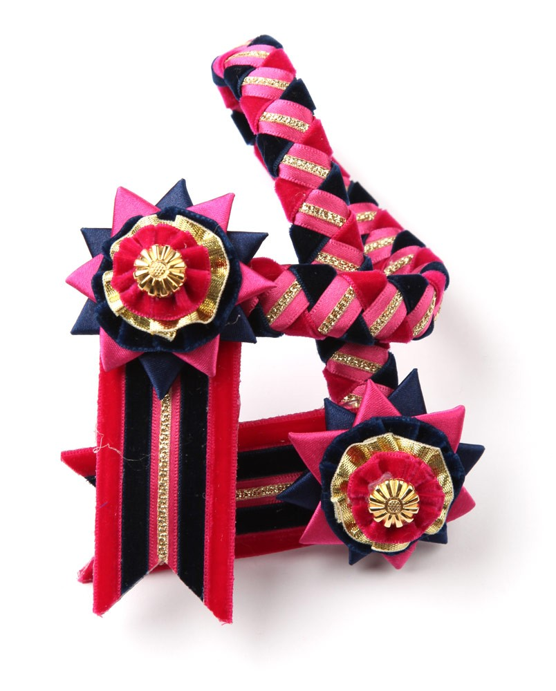 Classic Browband. Pink/Navy/Gold