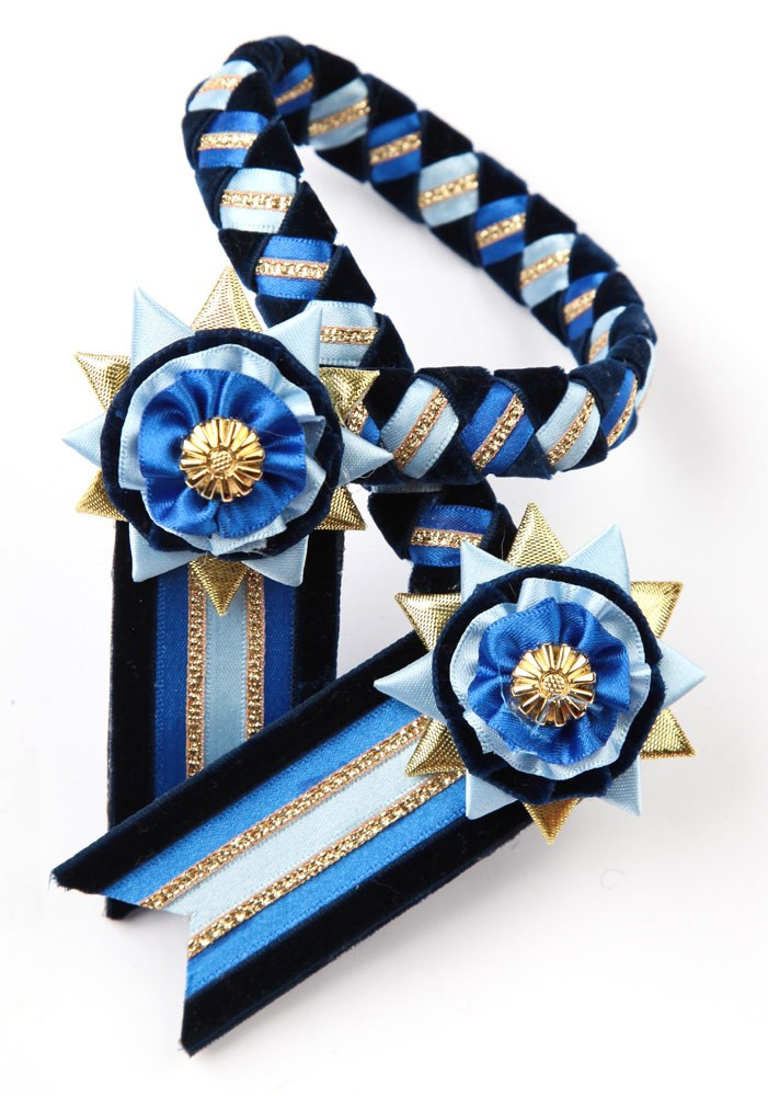 Classic Browband. Cornflower Blue/Navy/Gold.