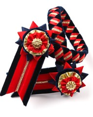 Classic Browband. Navy/Red/Gold
