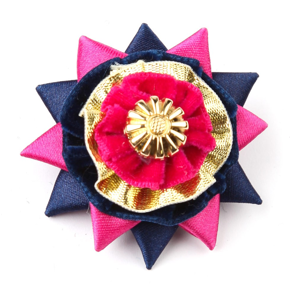 Pink/navy/gold Classic Buttonhole.