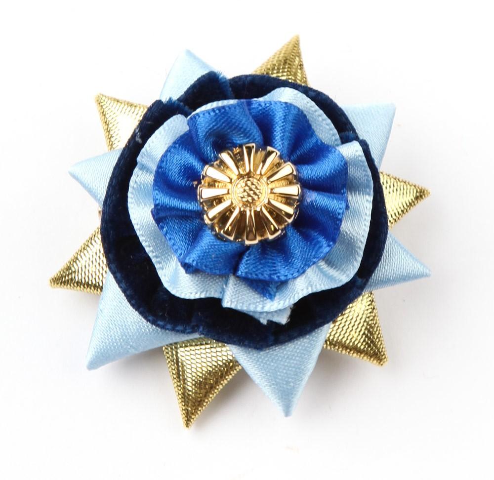 Cornflower Blue/navy/gold Classic Buttonhole.