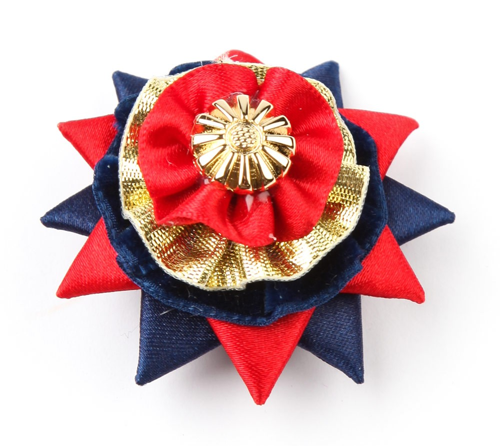 Red/navy/gold Classic Buttonhole.