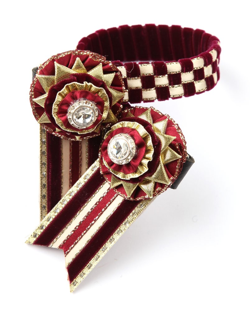 Wembley Browband. Burgundy/Cream/Gold.