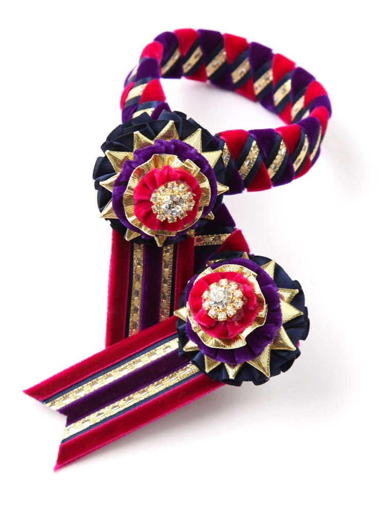 Wembley Browband. Purple/Cerise Pink/Navy/Gold.