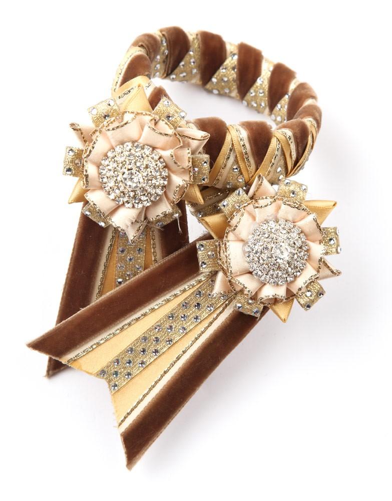 Diamante Browband. Brown/Cream