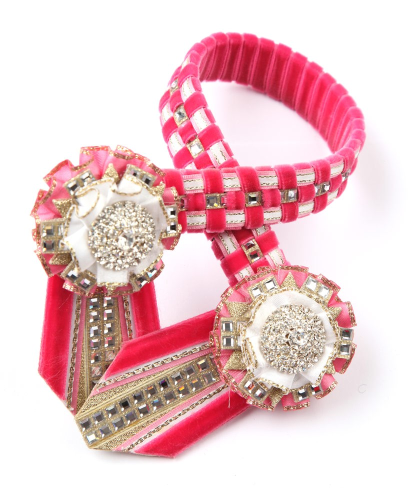 Diamante Browband. Pink/White/Gold