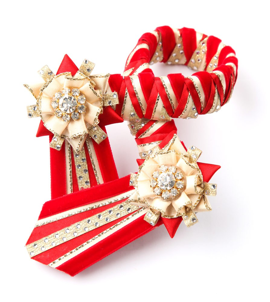 Diamante Browband. Red/Cream/Gold