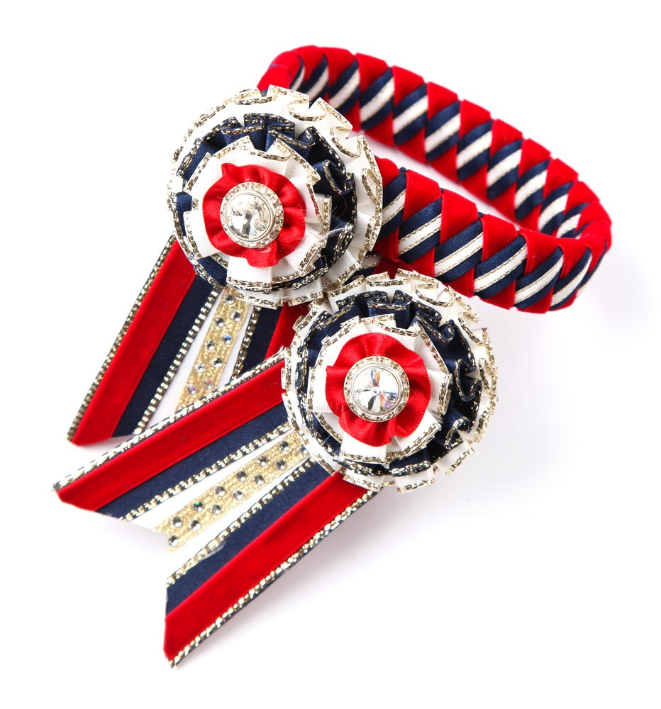 Diamante Browband. Red/White/Navy