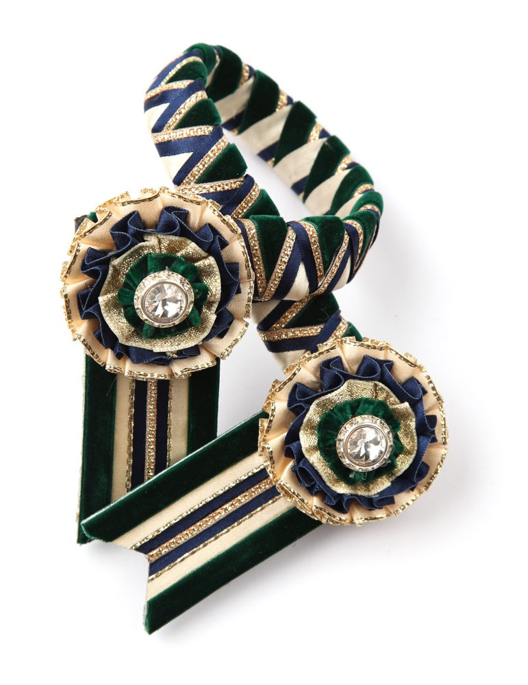 Wembley Browband. Dark Green/Cream/Navy/Gold