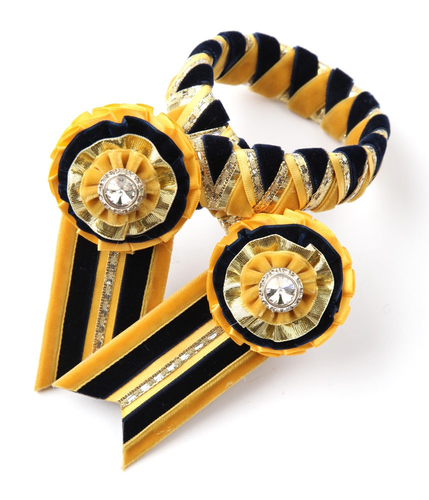 Wembley Browband. Mustard/Navy/Gold