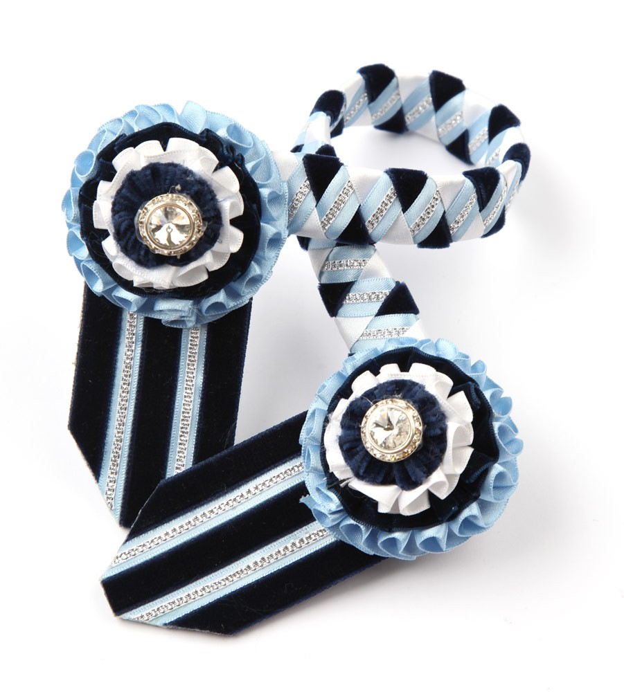 Wembley Browband. Sky Blue/White/Navy/Silver
