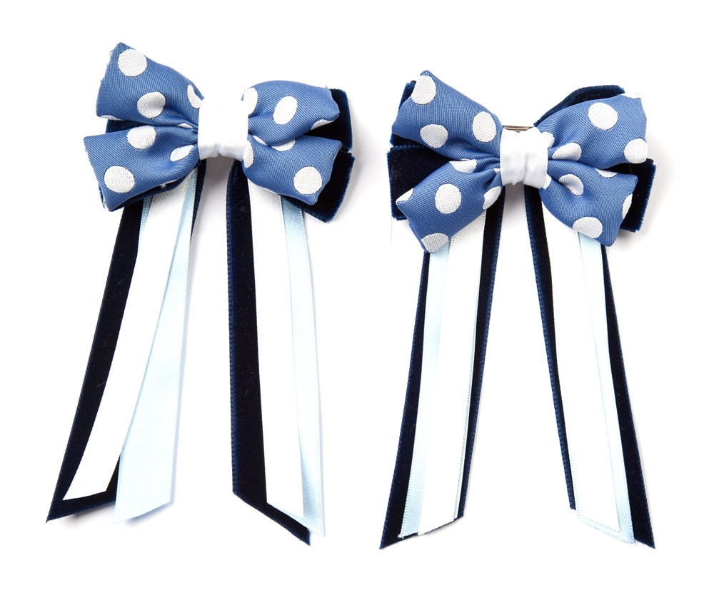 Twin Set Hair Bows Light Blue/white spot/navy