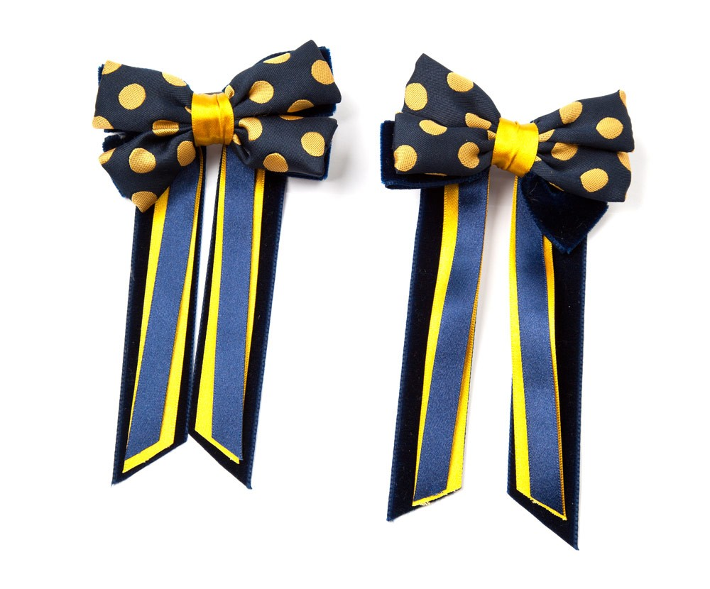 Twin Set Hair Bows Navy/yellow spot/navy
