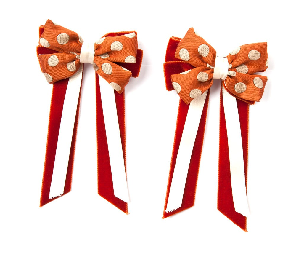 Twin Set Hair Bows Orange/cream spot/orange