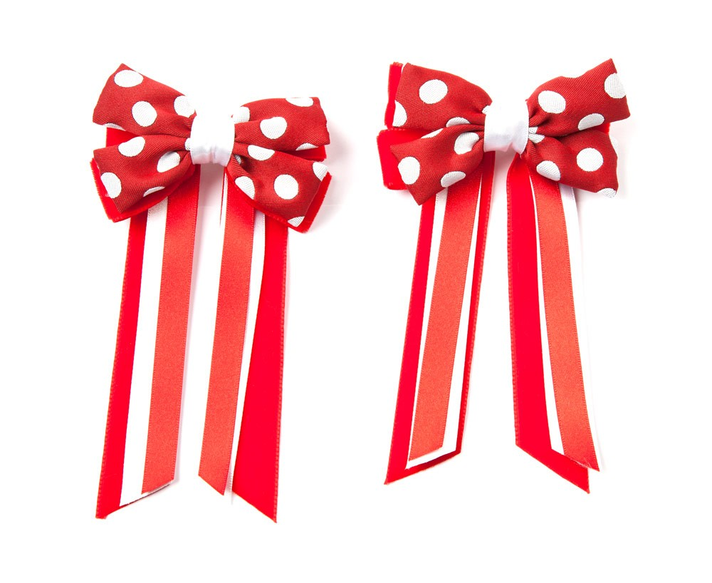 Twin Set Hair Bows Red/white spot/red