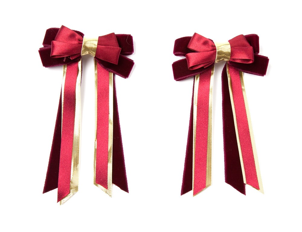 Twin Set Hair Bows Burgundy/gold