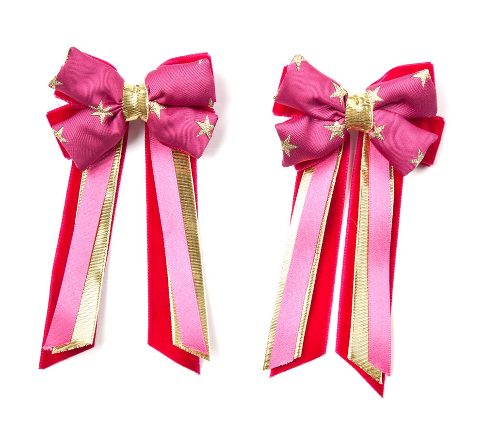 Twin Set Hair Bows Pink/gold star/pink