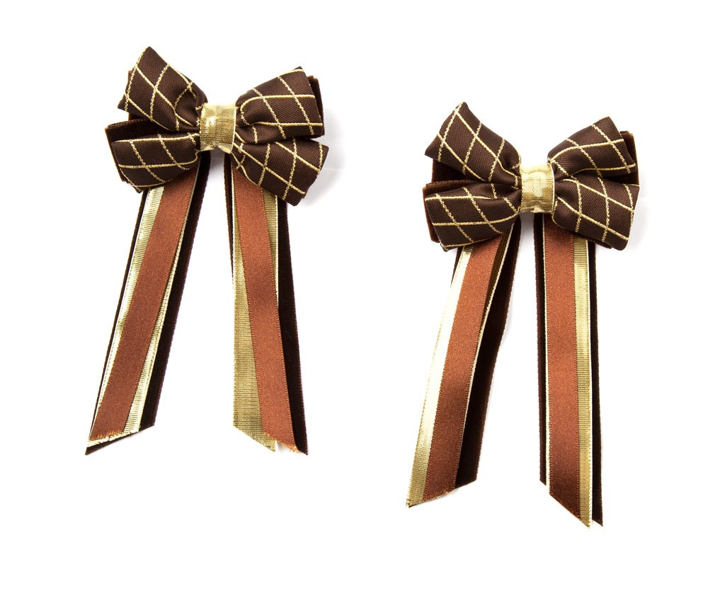 Twin Set Hair Bows Brown/gold