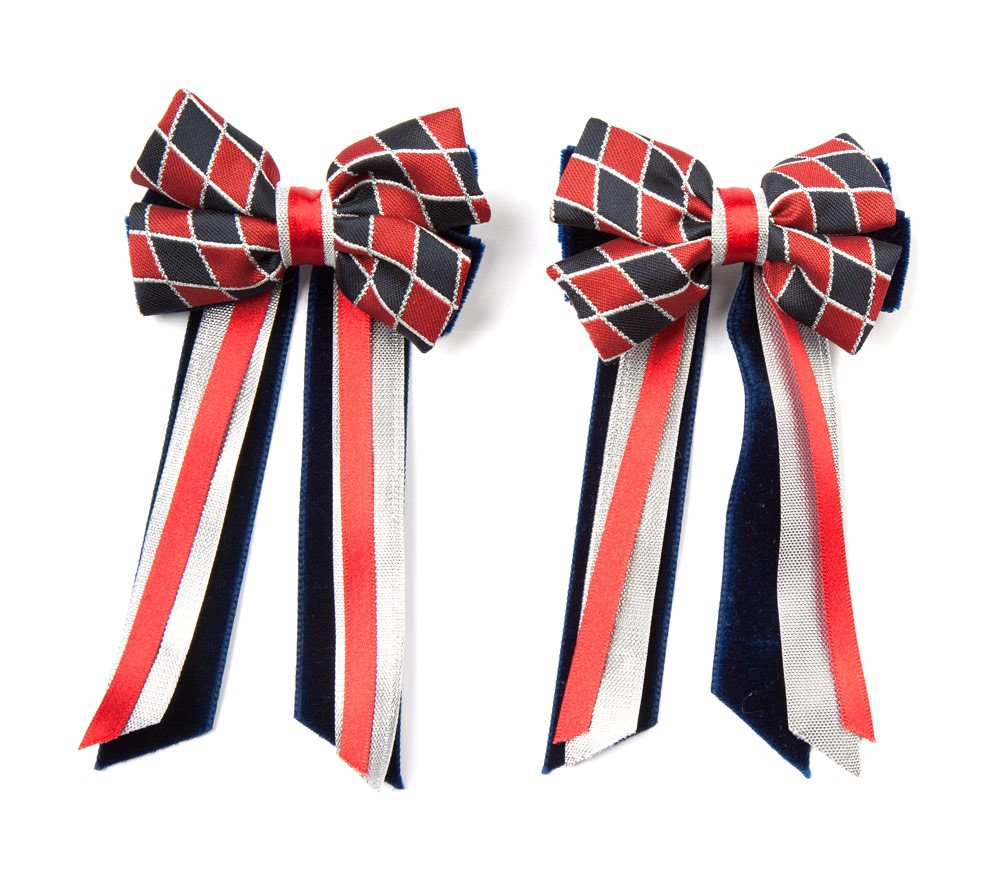 Twin Set Hair Bows Navy/red/silver