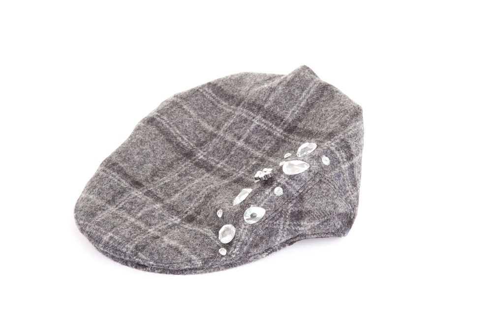 Tweed Jewelled Flat Cap