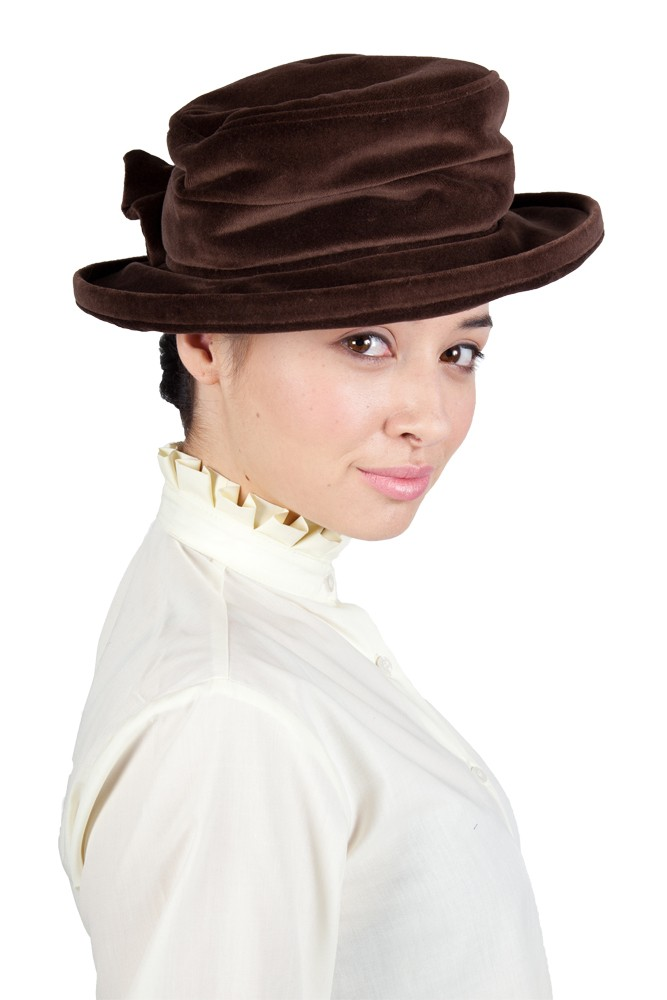 Brown Lead rein Velvet Hat with Bow