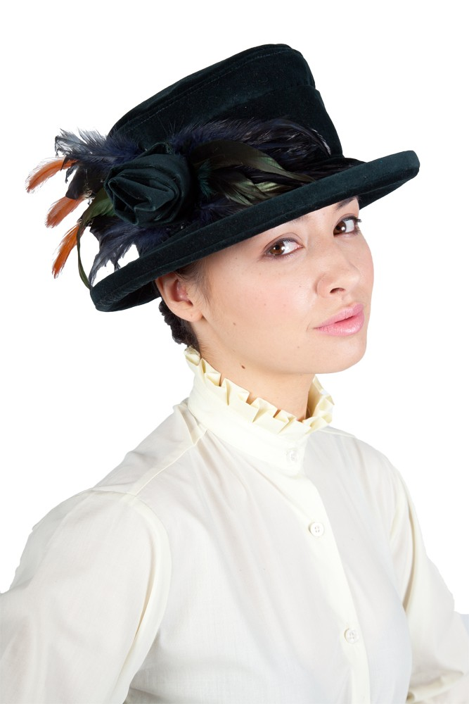 Navy Lead rein Velvet Hat with navy flower and orange feather