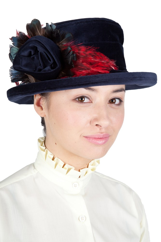 Navy Lead rein Velvet Hat with navy flower and red feather