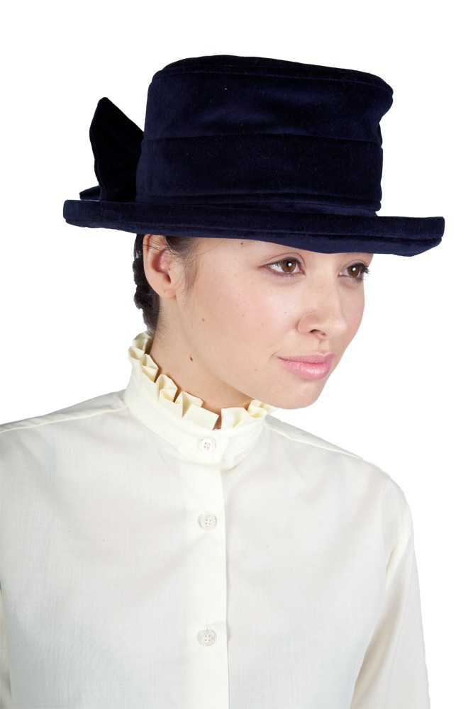 Navy Lead rein Velvet Hat with Bow