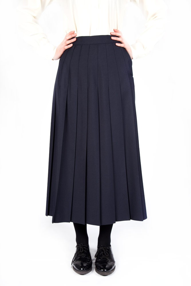 Navy Lead Rein Pleated Skirt