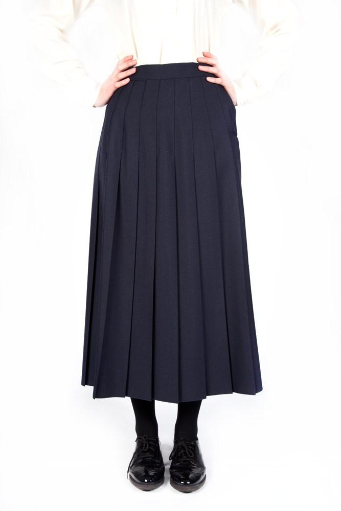 Navy Lead Rein Pleated Skirt