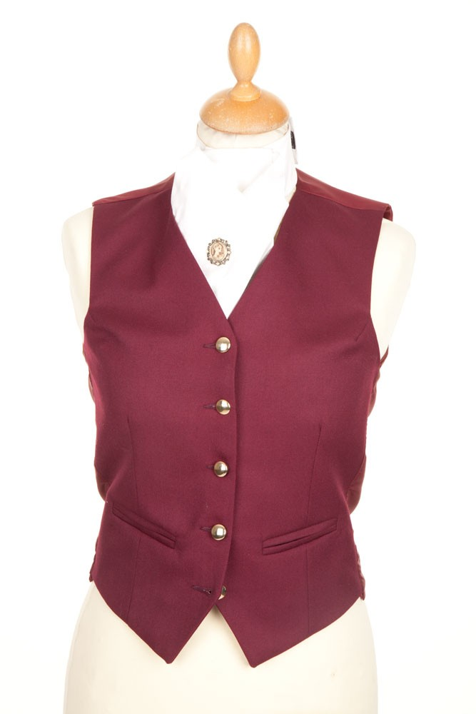Ladies Plain Burgundy Waistcoat