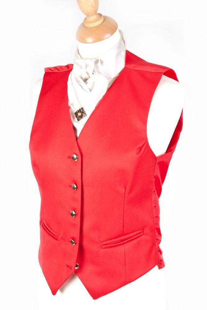 Ladies Plain Red Waistcoat
