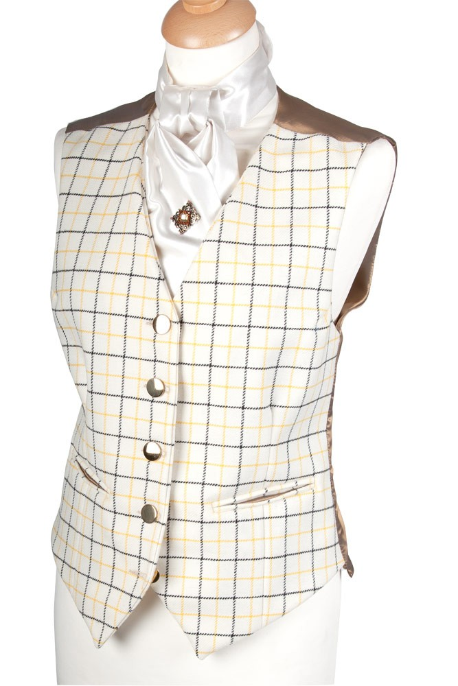 Mens Tattersall Cream Blue Yellow Check Waistcoat